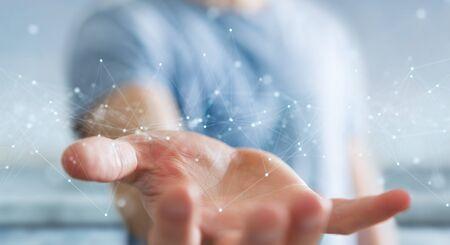 Hombre de negocios sobre fondo borroso mediante conexiones de red digital flotante con puntos y líneas 3D rendering Foto de archivo
