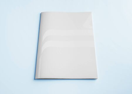 Isolated white magazine cover mockup on blue background 3d rendering