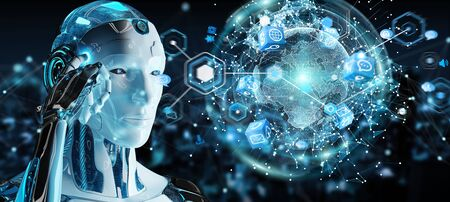 White male robot on blurred background using digital screen interface 3D rendering