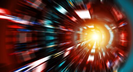 Abstract zoom effect in a red blue dark tunnel background with colorful traffic lights