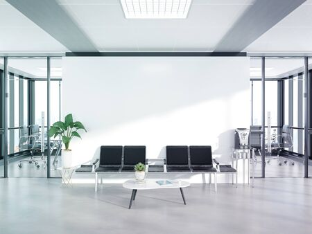 Blank white wall in bright concrete waiting room with large windows Mockup 3D rendering Banco de Imagens