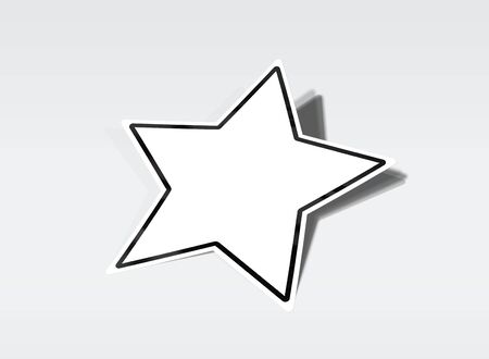 Star shaped sticker mockup isolated on white background 3D rendering