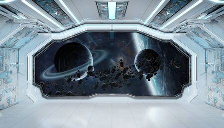 White blue spaceship futuristic interior with window view on space and planets 3d rendering elements of this image furnished by NASA