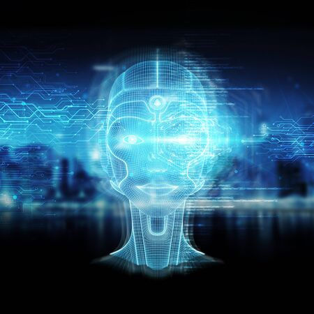 Intelligent machine with a robotic woman cyborg head concept 3D rendering