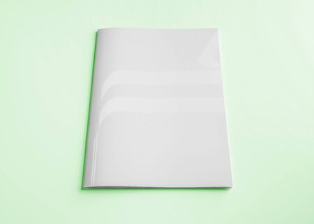 Isolated white magazine cover mockup on green background 3d rendering