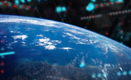 View of blue planet Earth from a space station window during a sunrise 3D rendering elements of this image furnished by NASA