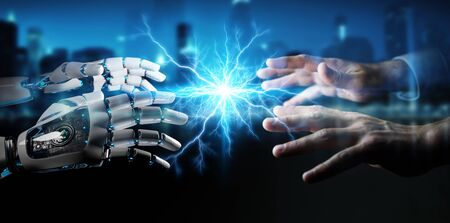 Robot hand creating electricity with human hand on dark background 3D rendering
