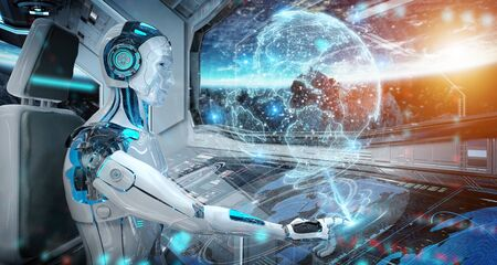 Robot cyborg in a control room flying a white modern spaceship with window view on space and digital Earth hologram 3D rendering Stockfoto