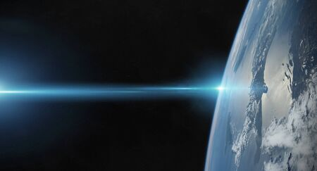 View of blue planet Earth close up with atmosphere during a sunrise 3D rendering elements of this image furnished by NASA