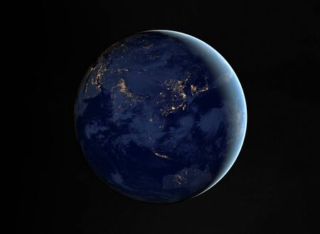 View of blue planet Earth at night with cities lights on Asia 3D rendering elements of this image furnished by NASA 스톡 콘텐츠