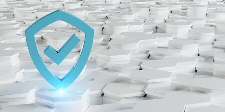 White blue abstract shield icon on hexagons background 3D rendering