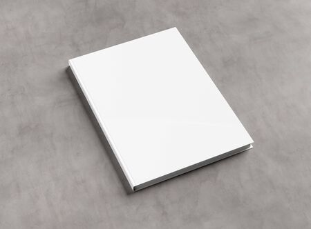 Blank hardcover book mockup on concrete background 3D rendering