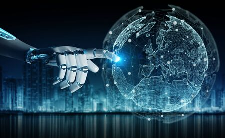 Intelligent robot cyborg using digital globe interface with his hands 3D rendering
