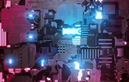 Futuristic blue and pink tech panel texture background with lots of details