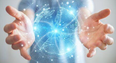 Businessman on blurred background using Europe map globe network hologram 3D rendering
