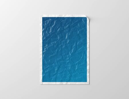 Crumpled paper poster isolated on white background Mockup 3D rendering Stok Fotoğraf
