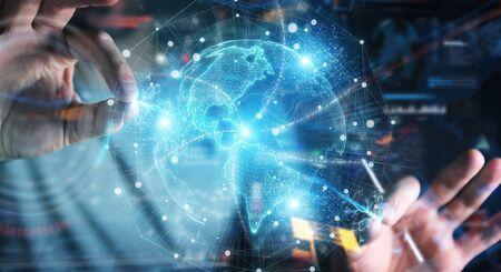 Businessman hand in dark using America USA map globe network hologram 3D rendering Stockfoto