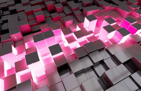 Glowing black blue and pink abstract squares background pattern 3D rendering