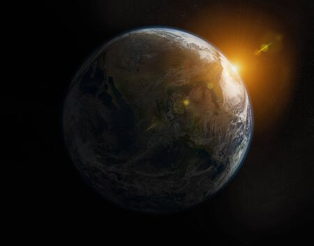 View of planet Earth on America during a sunrise 3D rendering elements of this image furnished by NASA