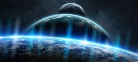 Distant planet system in space with exoplanets during sunrise 3D rendering 写真素材
