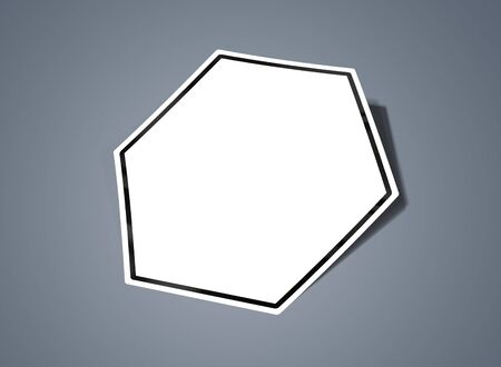 Hexagonal shaped sticker mockup isolated on grey background 3D rendering Stock fotó