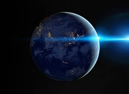 View of blue planet Earth at night with cities lights on Asia 3D rendering 写真素材