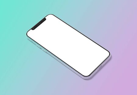 Modern smartphone mockup isolated on blue gradient background 3D rendering