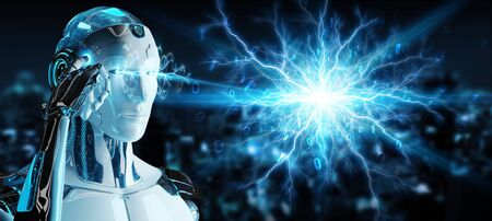 White humanoid robot on blurred background creating renewable and sustainable eco energy 3D rendering 写真素材 - 129994936