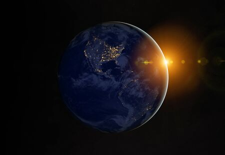 View of blue planet Earth at night with cities lights on America 3D rendering
