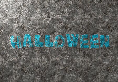 Happy Halloween grunge card blue text on metal damaged iron background