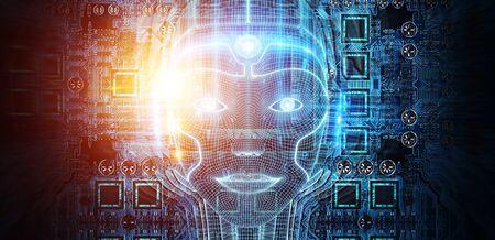 Robotic woman cyborg face representing artificial intelligence concept 3D rendering Stok Fotoğraf - 129994945