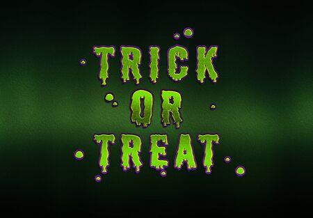 Happy Halloween green goblin card effect on dark background