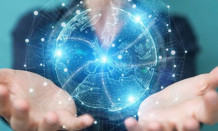 Businesswoman on blurred background using Europe map globe network hologram 3D rendering