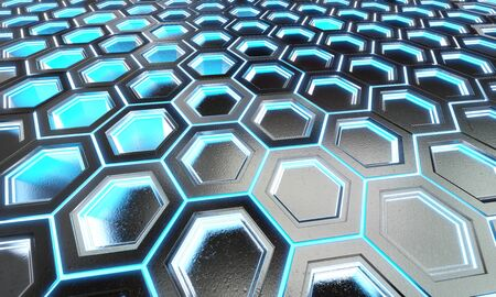 Glowing black and blue hexagons background pattern on silver metal surface 3D rendering Stok Fotoğraf - 129994953