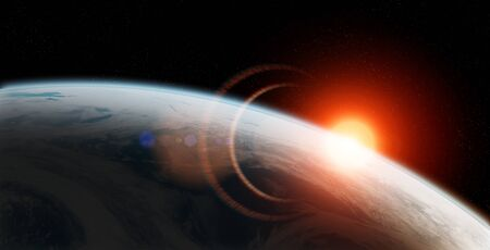 View of blue planet Earth close up with atmosphere during a sunrise 3D rendering 写真素材