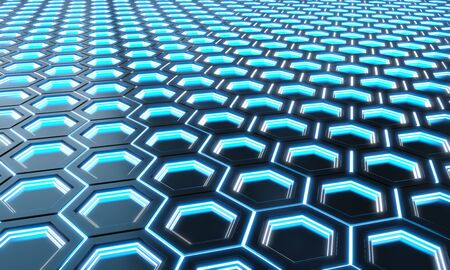 Glowing black and blue abstract hexagons background pattern on silver metal surface 3D rendering Stok Fotoğraf - 129995007