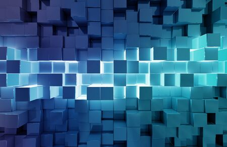 Glowing black and blue abstract squares background pattern 3D rendering Stok Fotoğraf
