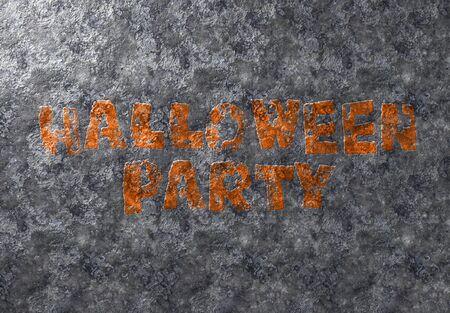 Happy Halloween grunge card orange text on metal damaged iron background
