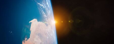 View of blue planet Earth close up with atmosphere during a sunrise 3D rendering Stock fotó