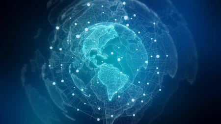 Global network on planet Earth blue background 3D rendering Stok Fotoğraf - 129995069