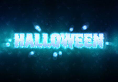 Happy Halloween blue ghost card spirit effect on dark background