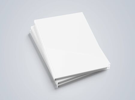 Blank A4 book hardcover pile mockup isolated on grey background 3D rendering