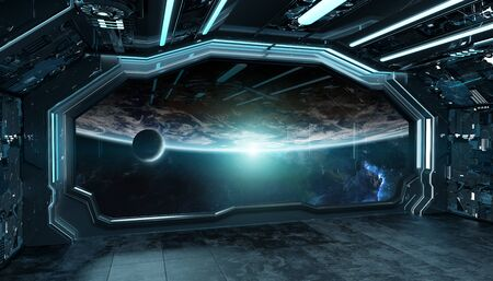 Dark blue spaceship futuristic interior with window view on planet Earth 3d rendering Фото со стока