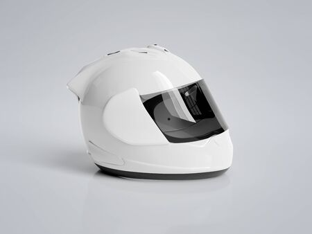 White motorcycle helmet isolated on grey background Mockup 3D rendering
