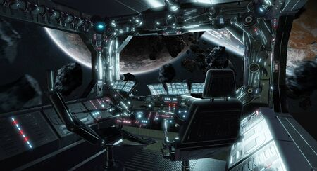 Spaceship grunge interior control room with seats and view on space 3D rendering Фото со стока