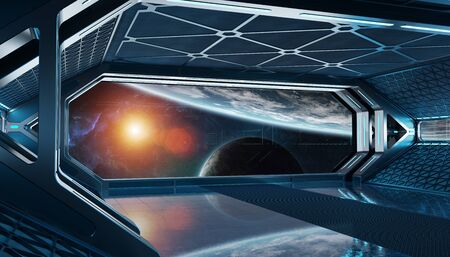 Dark blue spaceship futuristic interior with window view on space and planets 3d rendering Фото со стока