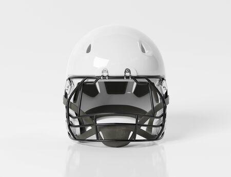 White American football helmet isolated on white background mockup 3D rendering