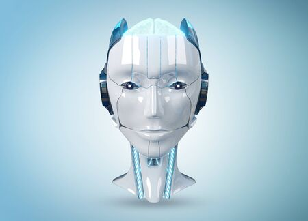 White and blue female cyborg robot head isolated on blue background with shadow 3d rendering