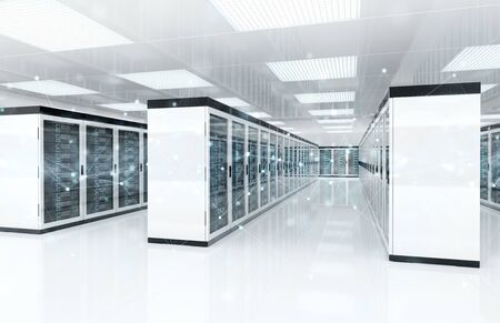Connection network in white servers data center room storage systems 3D rendering Banque d'images - 131206882