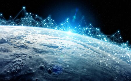 Global datas exchanges and futuristic connections system over the globe 3D rendering Banque d'images